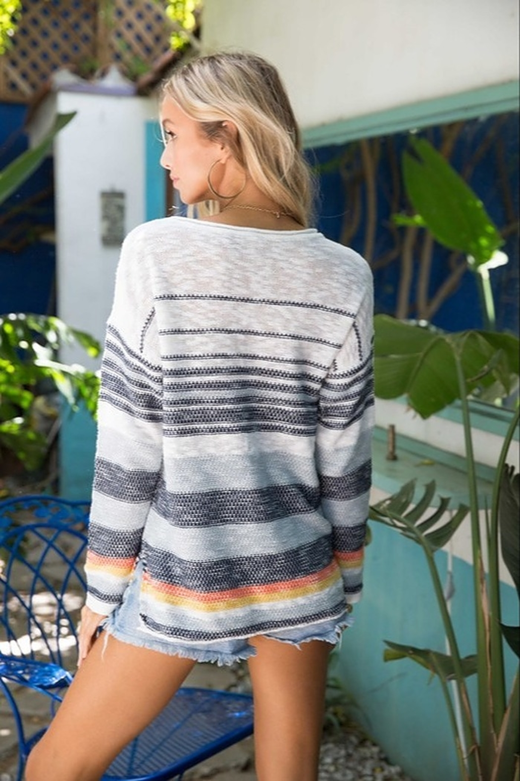 Hem & Thread Striped Sweater - Front Full Image