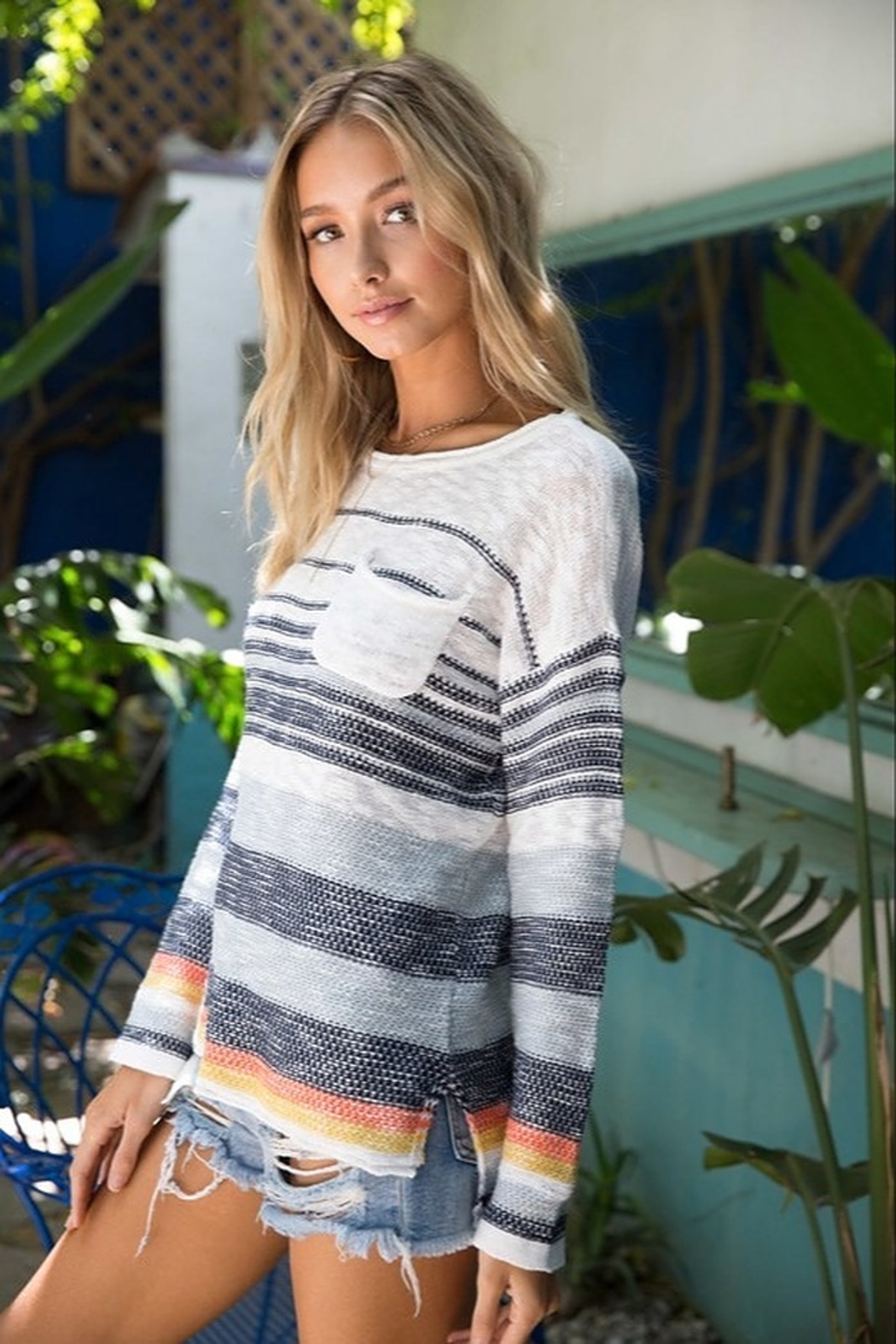 Hem & Thread Striped Sweater - Front Cropped Image