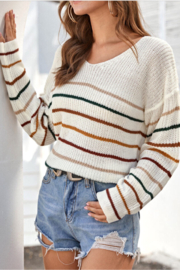 She + Sky Striped Sweater - Product Mini Image