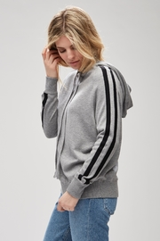 Backdrop Fashion Striped Sweater Hoodie - Front cropped