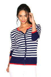 Elena Wang  Striped Sweater With Crystal Button Accents - Product Mini Image