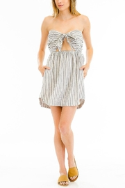 Olivaceous Striped Sweetheart Dress - Product Mini Image