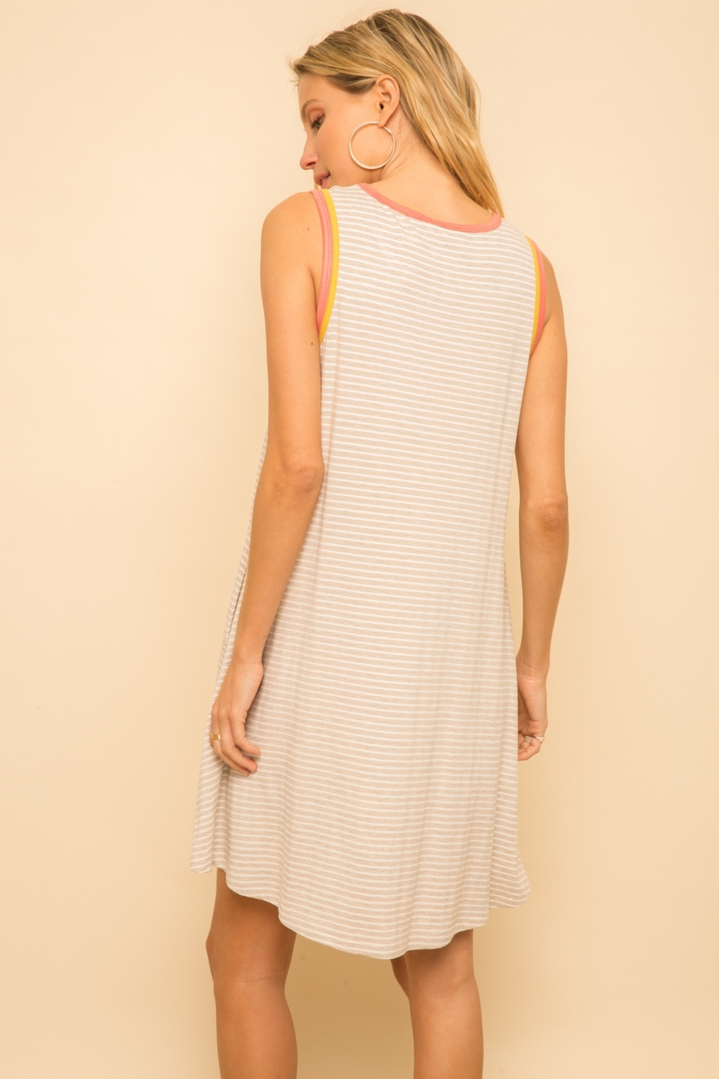 Hem and Thread Striped Tank Dress - Side Cropped Image