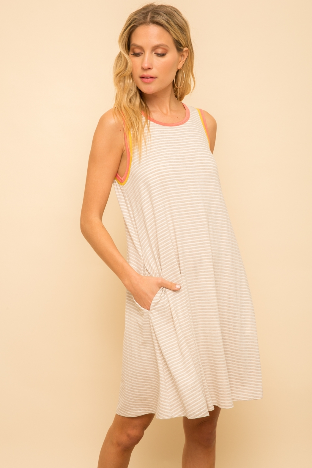 Hem and Thread Striped Tank Dress - Main Image