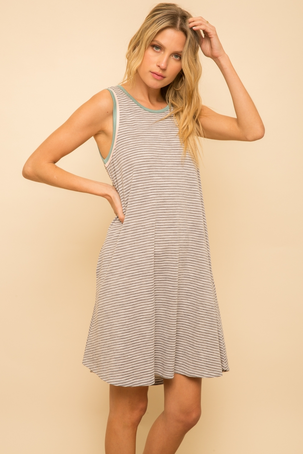 Hem and Thread Striped Tank Dress - Front Cropped Image