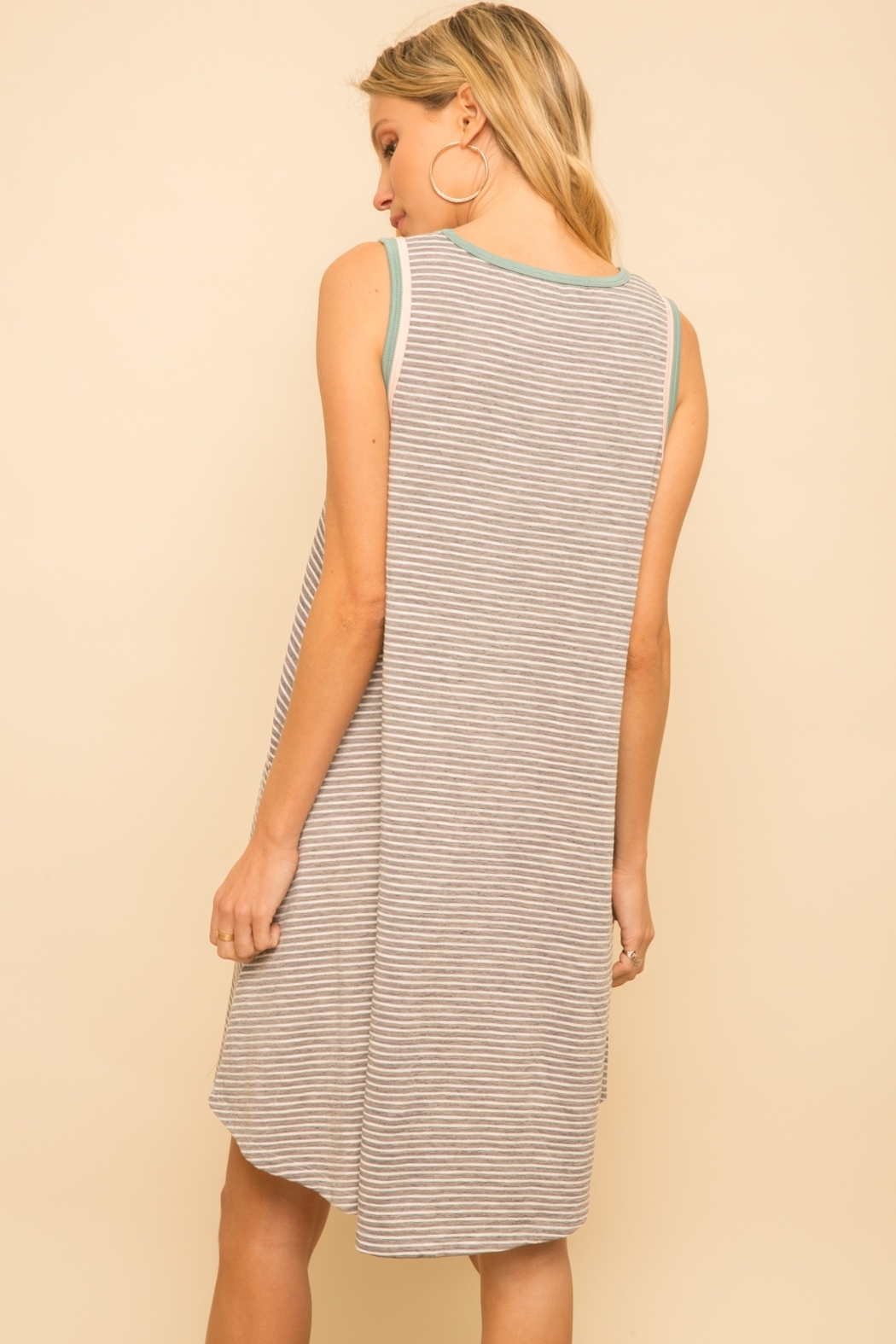 Hem and Thread Striped Tank Dress - Front Full Image