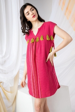 THML Clothing Striped Tassel Dress - Product List Image