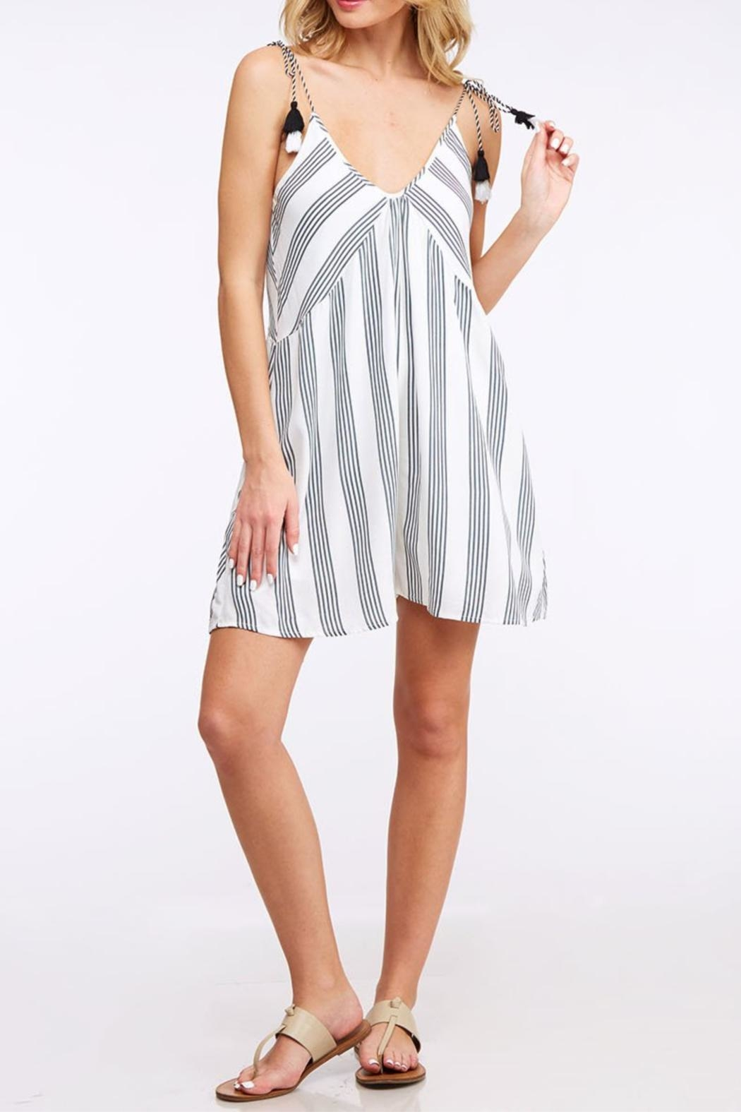 Peach Love California Striped Tassel Romper - Front Cropped Image