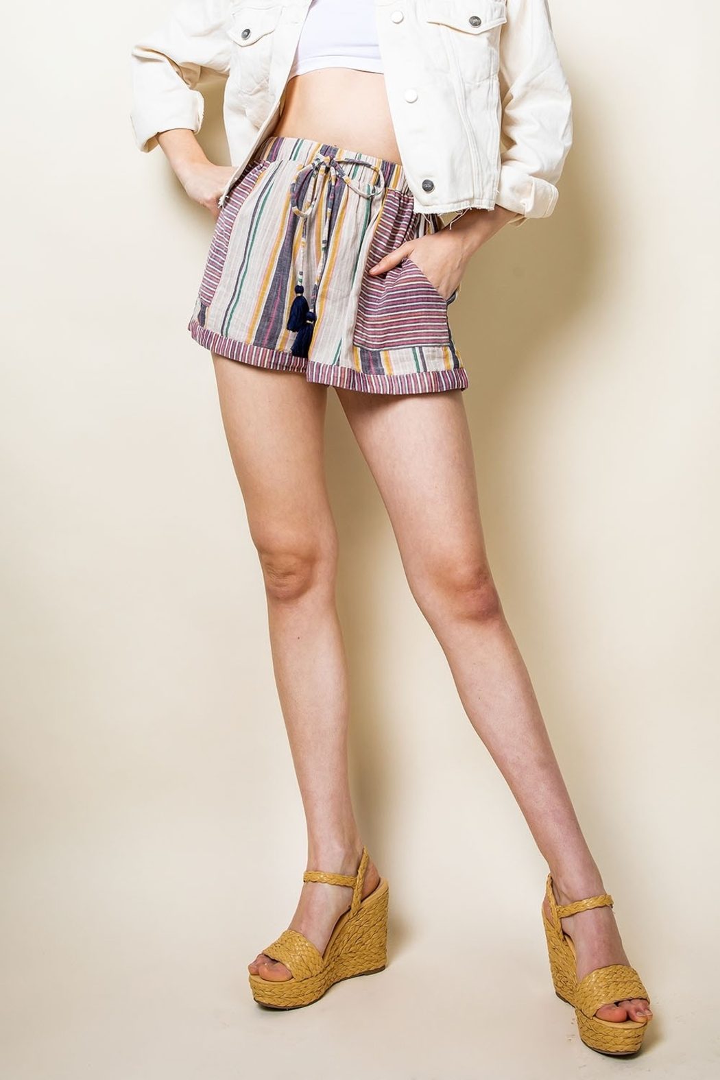THML Clothing Striped Tassel Tie Shorts - Side Cropped Image