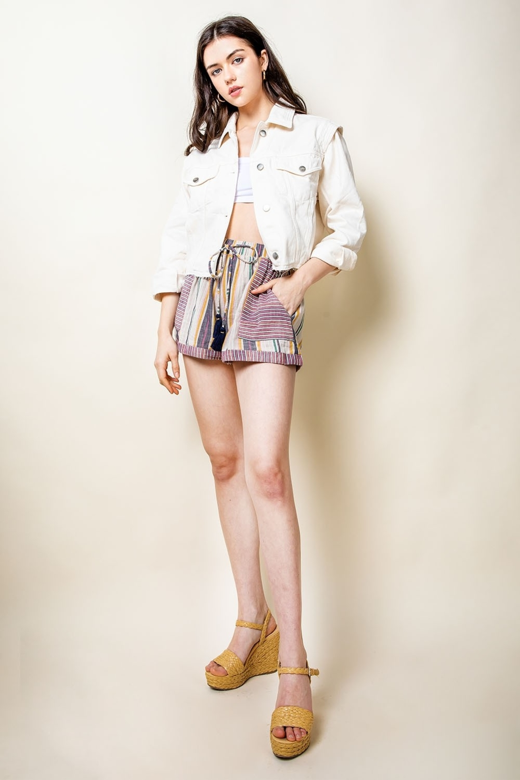 THML Clothing Striped Tassel Tie Shorts - Main Image