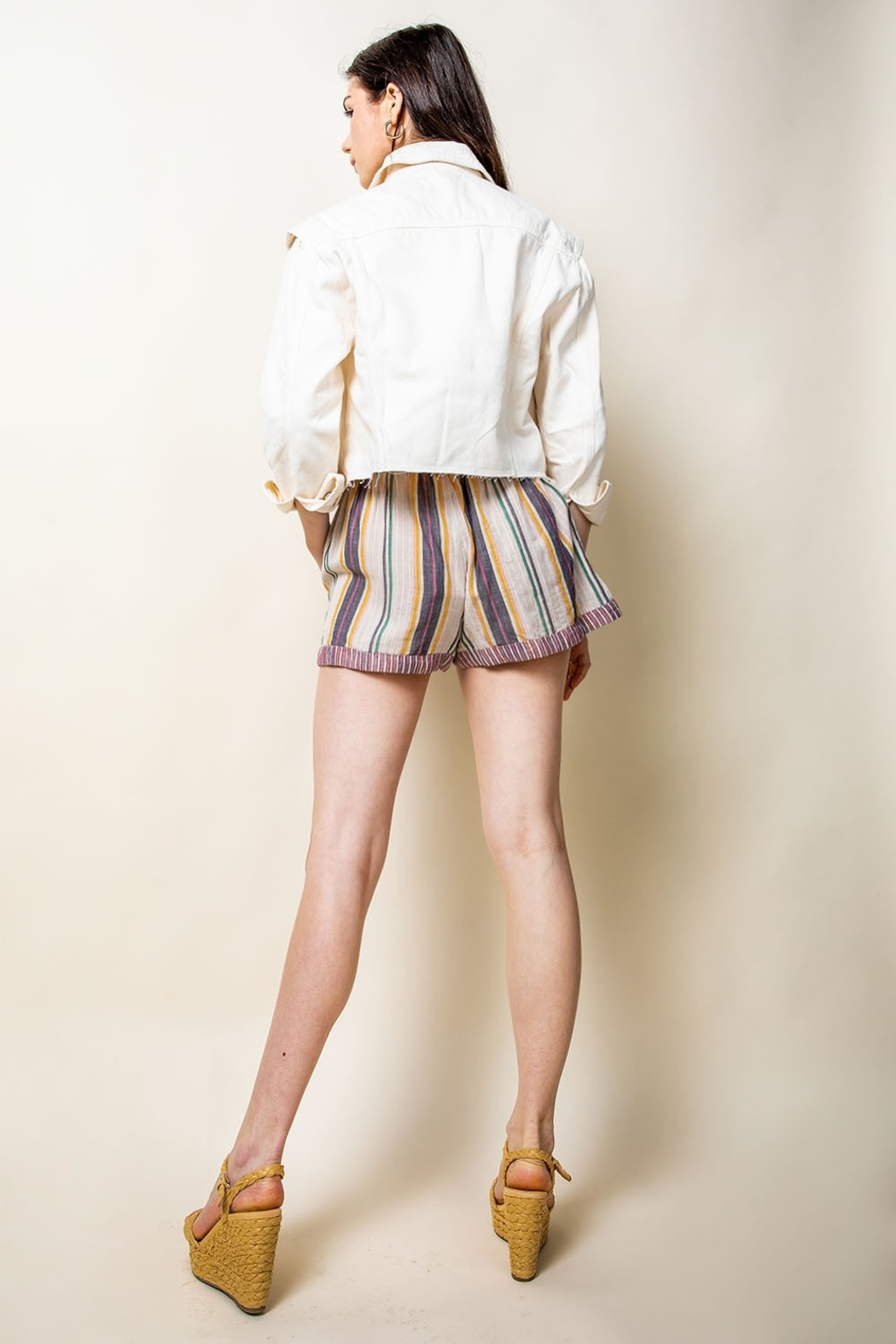 THML Clothing Striped Tassel Tie Shorts - Back Cropped Image