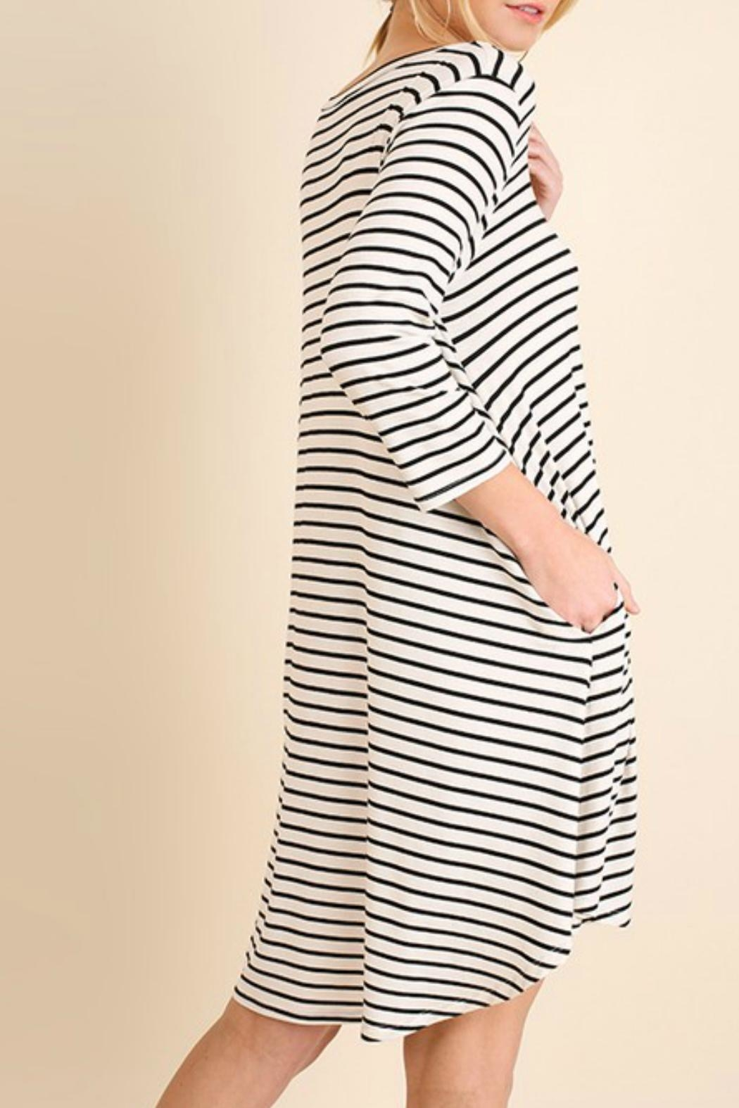 Umgee USA Striped Tee Dress - Front Full Image