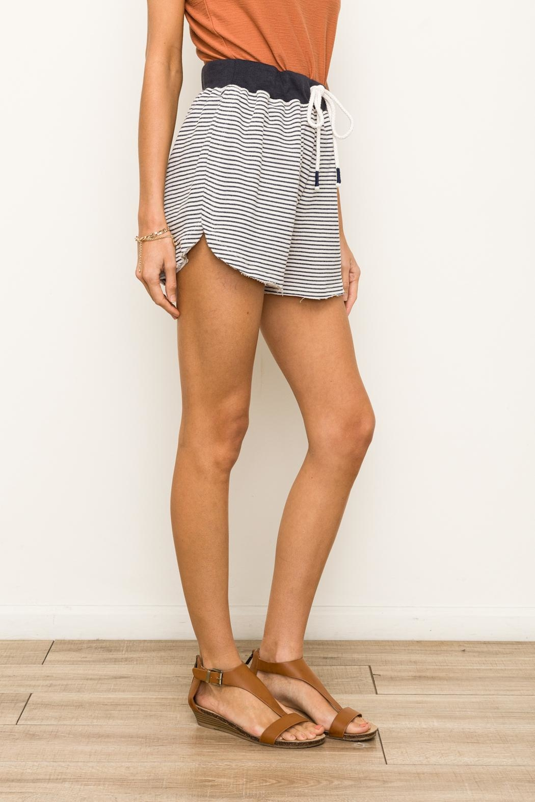 Hem & Thread Striped Terry Shorts - Side Cropped Image