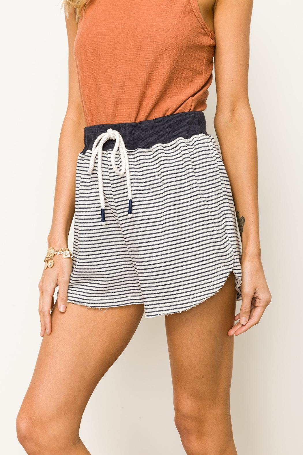 Hem & Thread Striped Terry Shorts - Front Full Image
