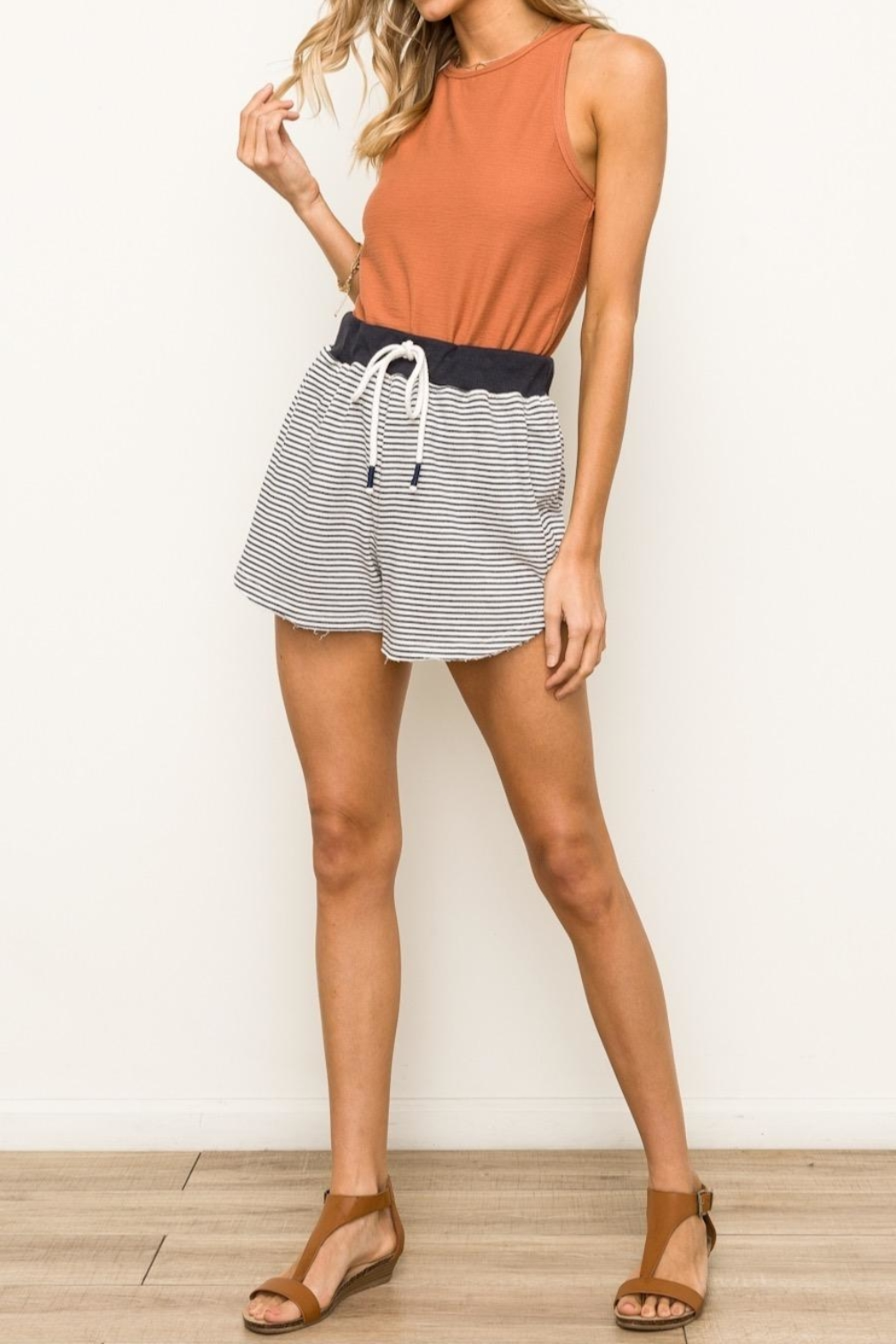 Hem & Thread Striped Terry Shorts - Front Cropped Image