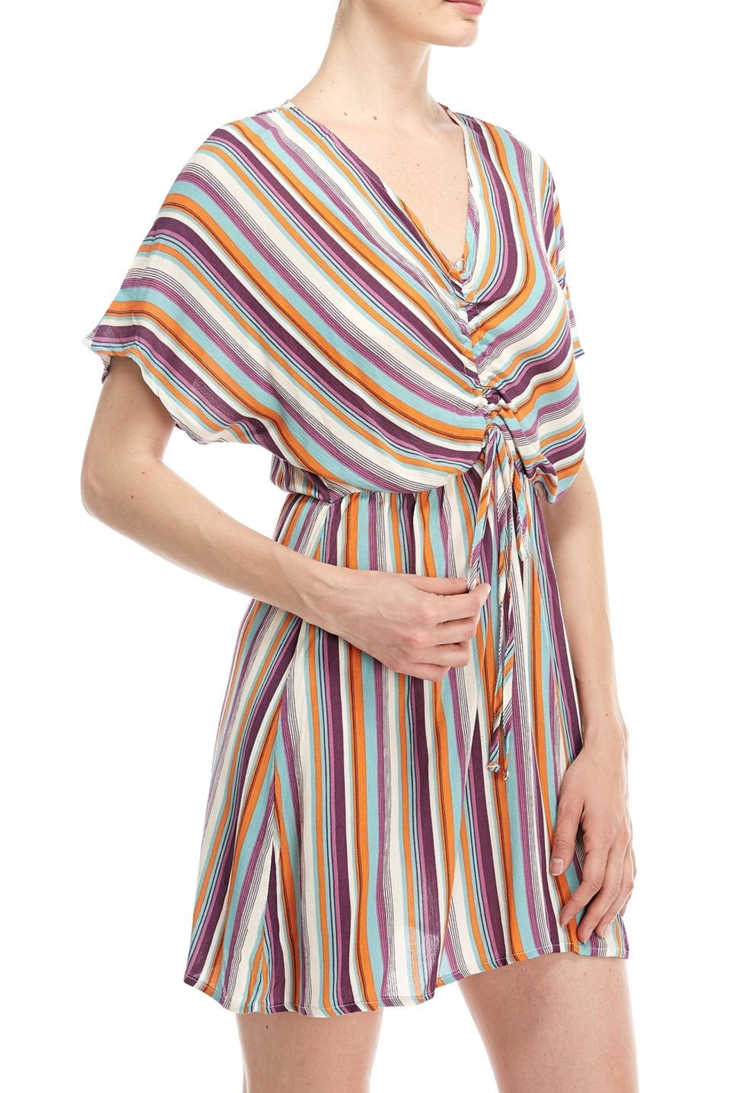 All In Favor Striped Tie Dress - Front Full Image