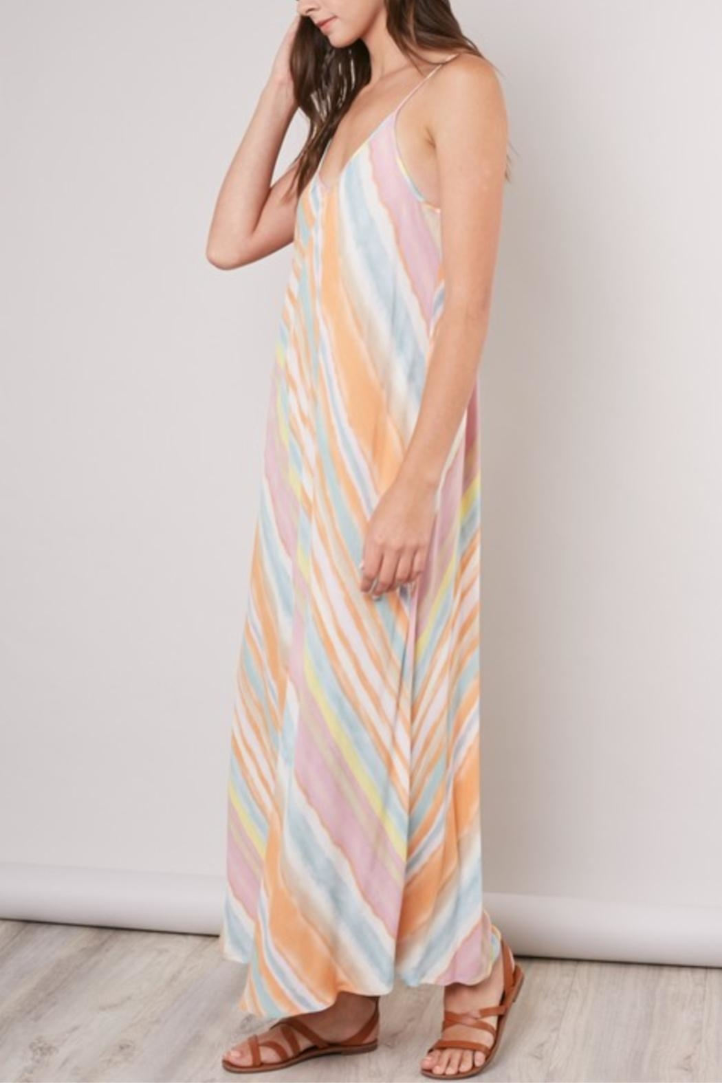 Mustard Seed Striped Tie-Dye Dress - Front Cropped Image