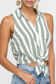 Lush Clothing  Striped Tie Front Tank - Product Mini Image