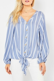 Entro Striped Tie-Front Top - Product Mini Image