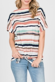 Papercrane Striped Tie Front Top - Product Mini Image