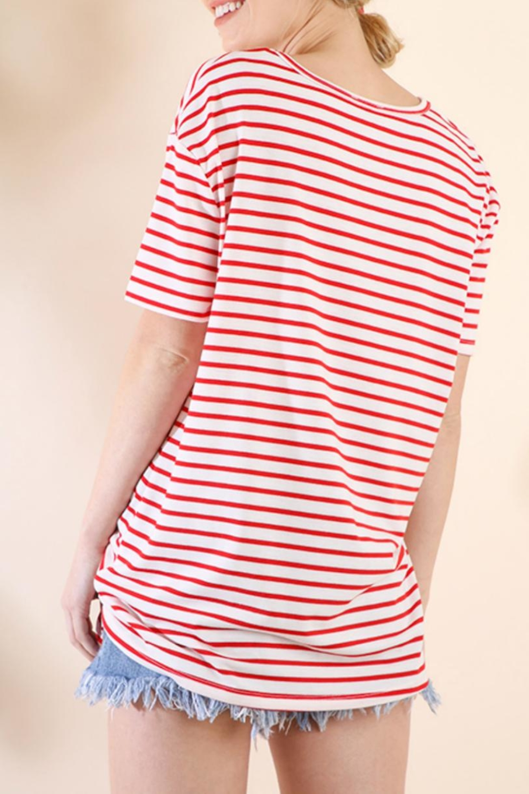 Umgee USA Striped Tie-Front Top - Front Full Image