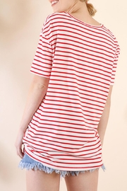 Umgee USA Striped Tie-Front Top - Front full body