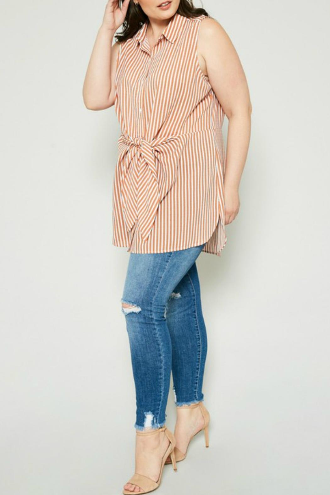 Hayden Los Angeles Striped Tie-Front Tunic - Front Full Image