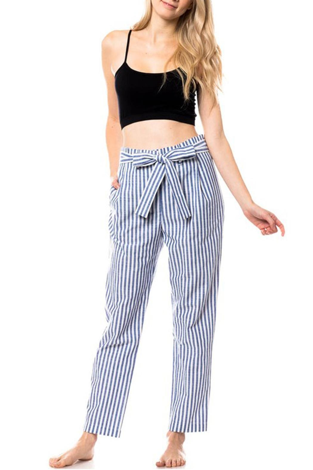 Love Tree Striped Tie Pants - Front Cropped Image