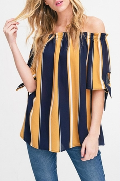 Shoptiques Product: Striped Tie-Sleeve Off-Shoulder