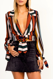 Olivaceous Striped Tie Top - Product Mini Image