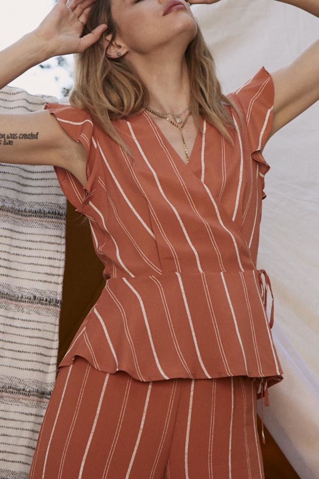 SAGE THE LABEL Striped Tie Top - Front Full Image