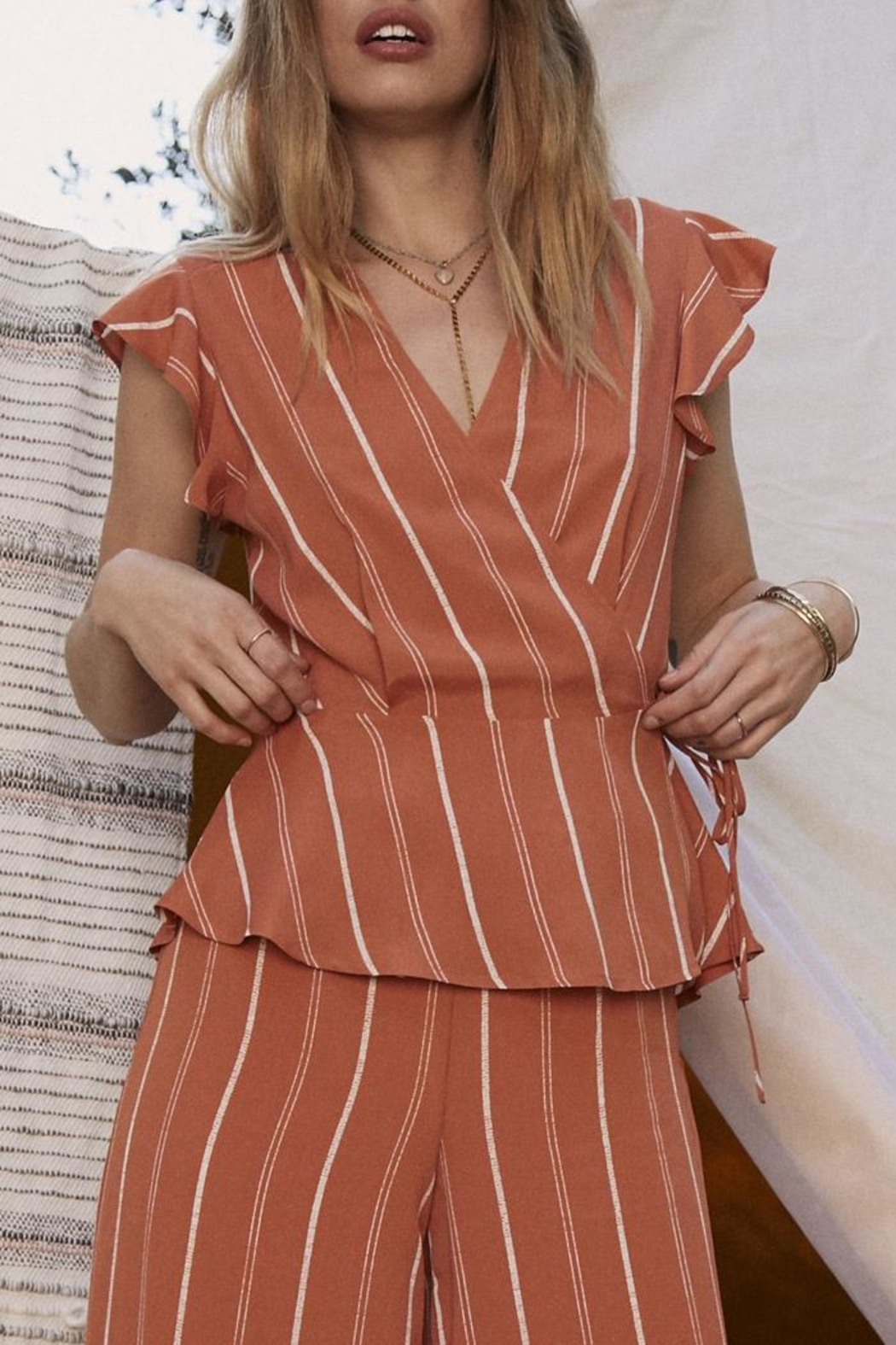 SAGE THE LABEL Striped Tie Top - Main Image