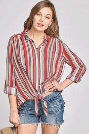 Oddi Striped Tiefront Top - Product Mini Image