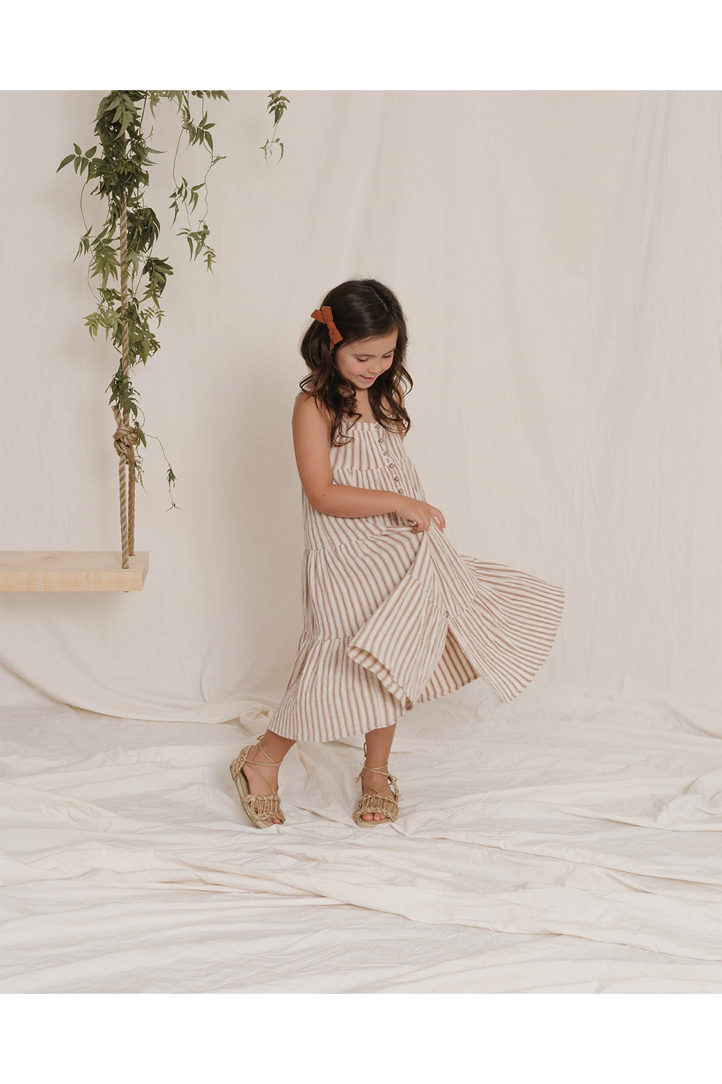 Rylee & Cru Striped Tiered Maxi Dress - Front Full Image