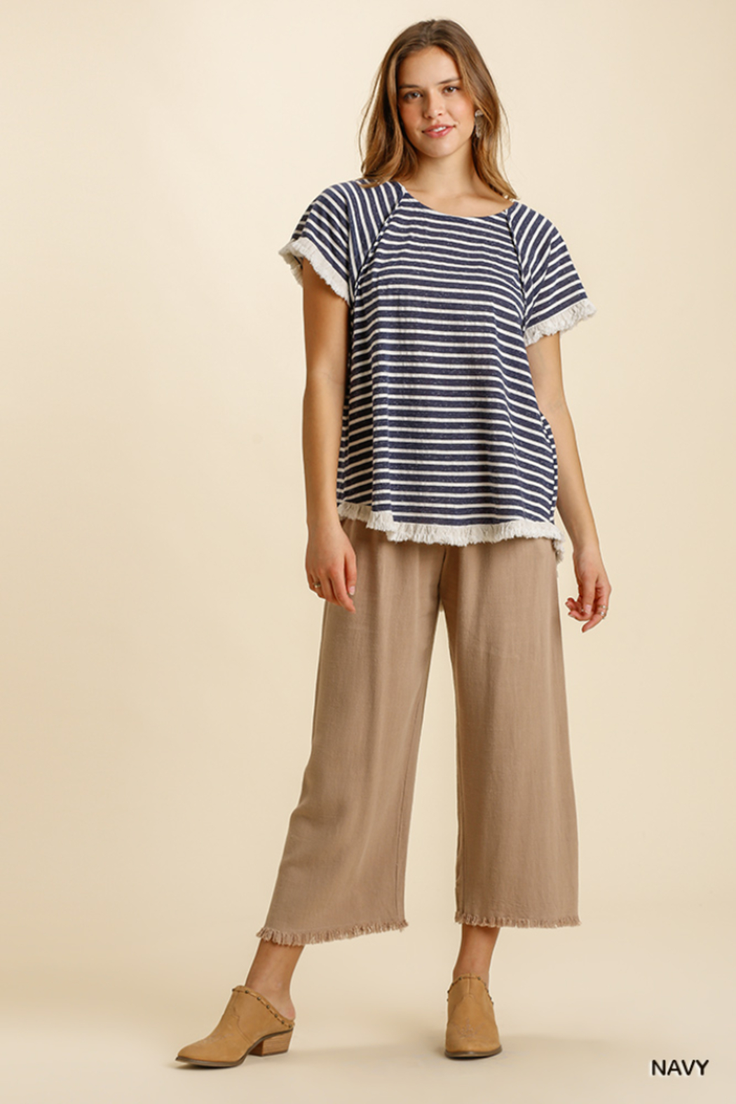 umgee  STRIPED TOP W/HI LO HEM - Front Cropped Image