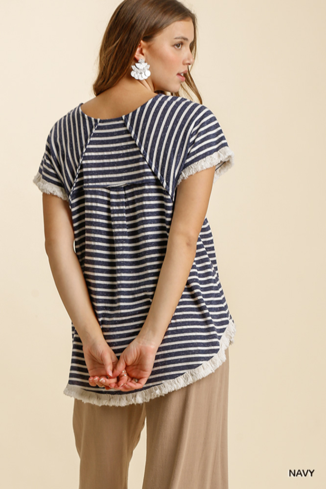 umgee  STRIPED TOP W/HI LO HEM - Front Full Image