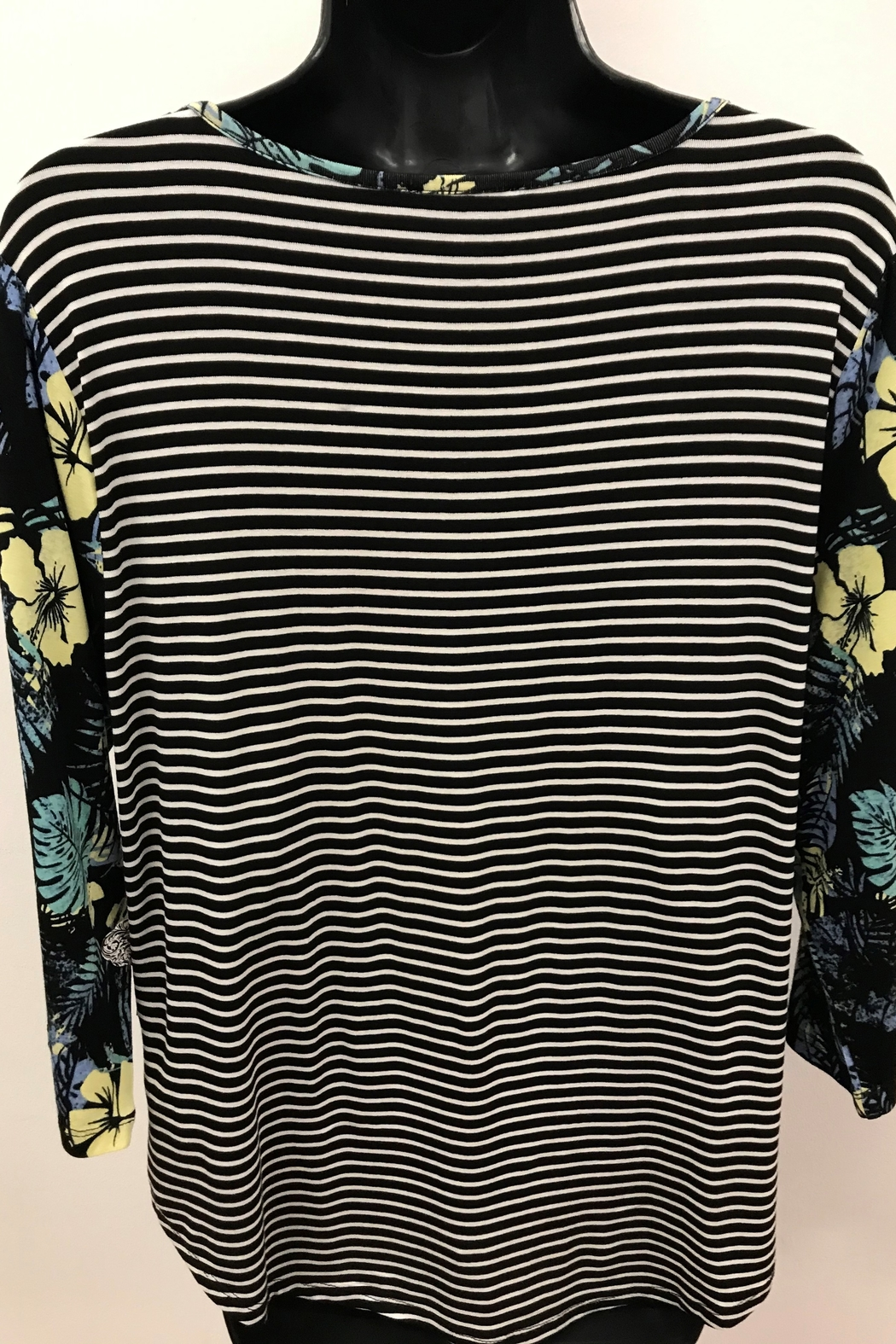 Tribal Striped Top with Combo Sleeve - Front Full Image