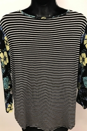 Tribal Striped Top with Combo Sleeve - Front full body