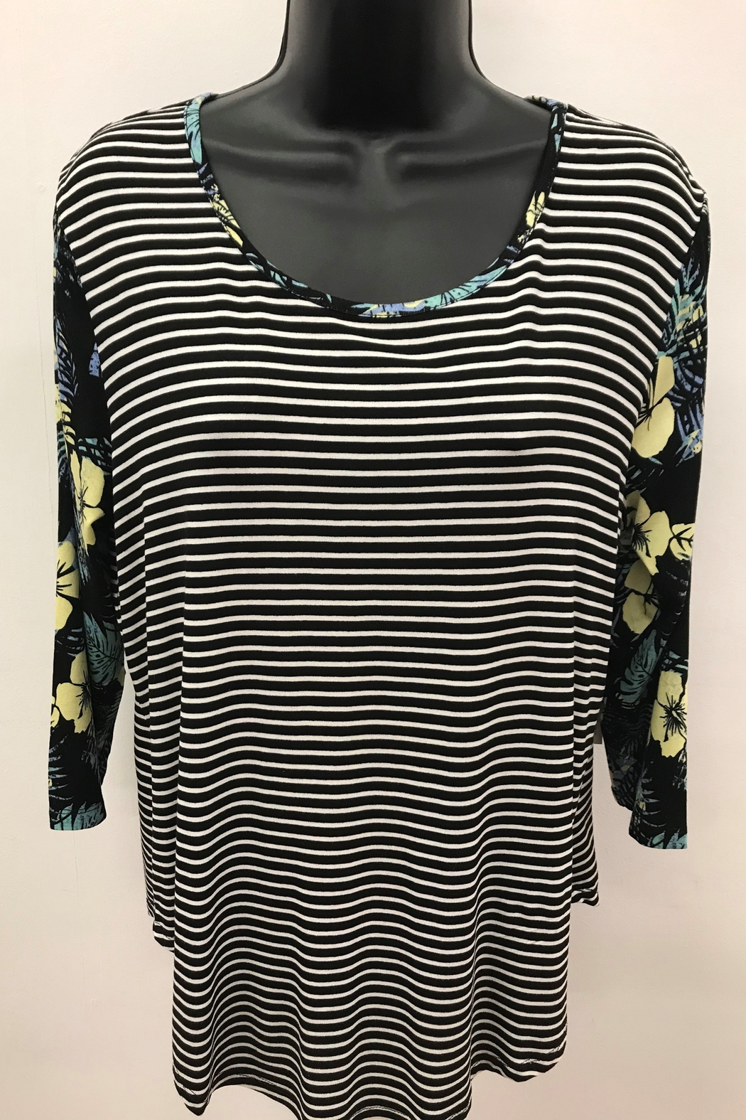 Tribal Striped Top with Combo Sleeve - Front Cropped Image