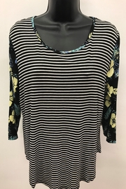 Tribal Striped Top with Combo Sleeve - Front cropped