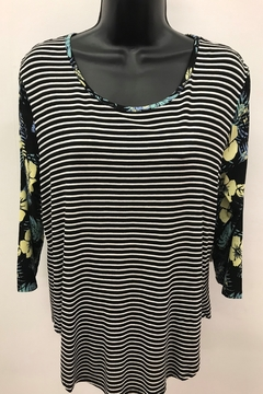 Shoptiques Product: Striped Top with Combo Sleeve
