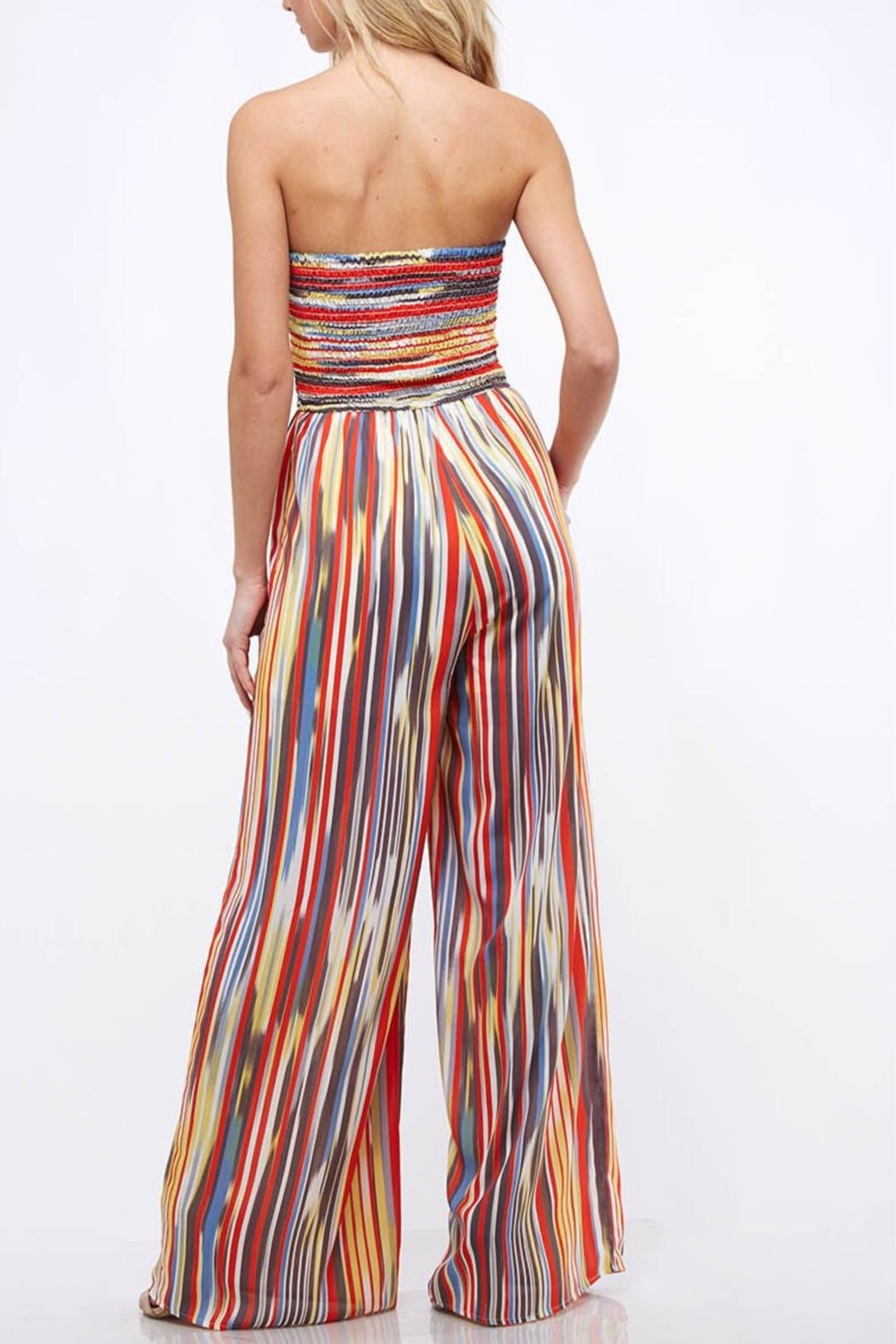 Peach Love California Striped Tube Jumpsuit - Side Cropped Image