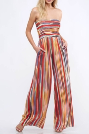 Peach Love California Striped Tube Jumpsuit - Front cropped