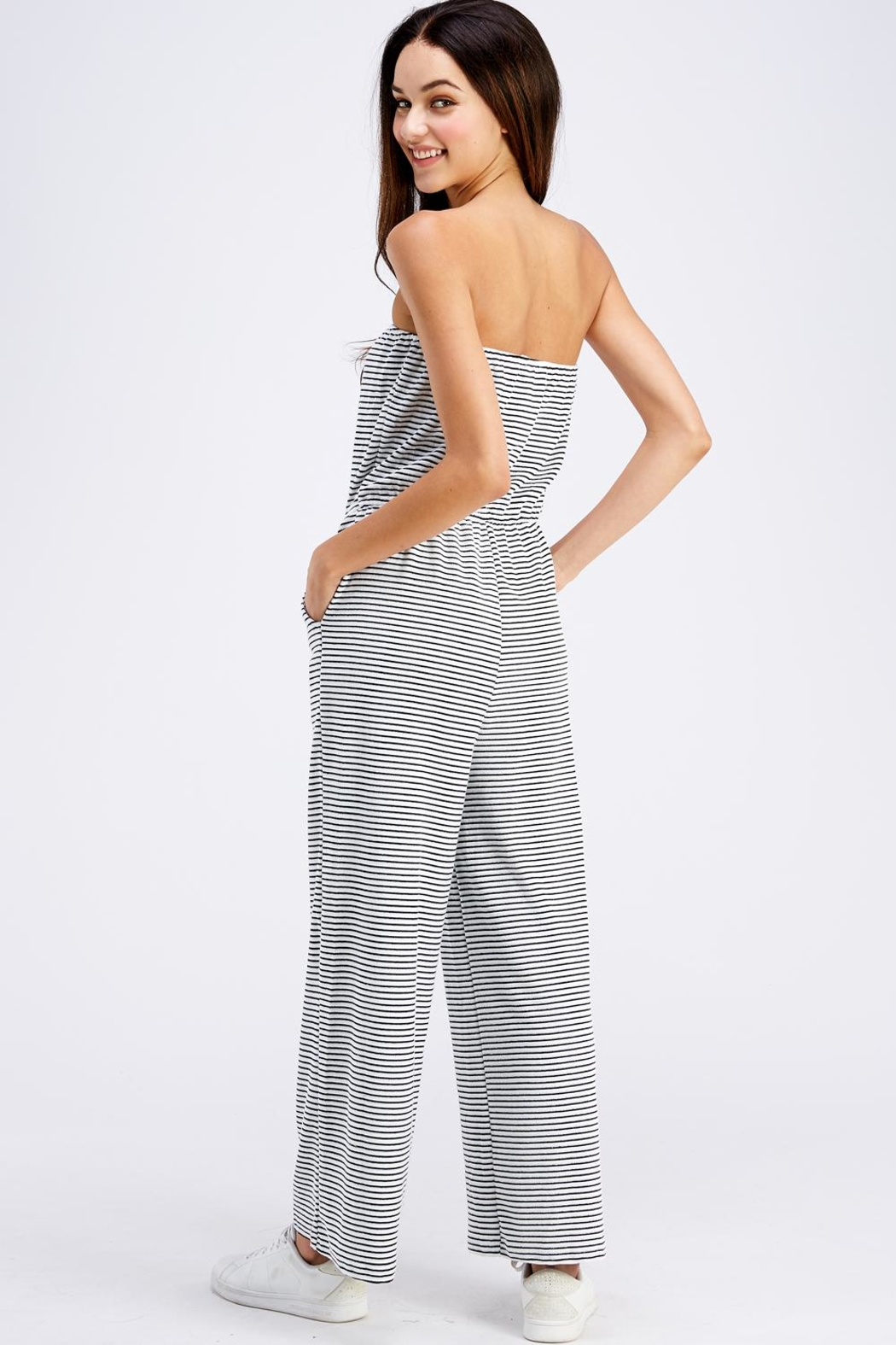 Emory Park Striped Tube Jumpsuit - Back Cropped Image