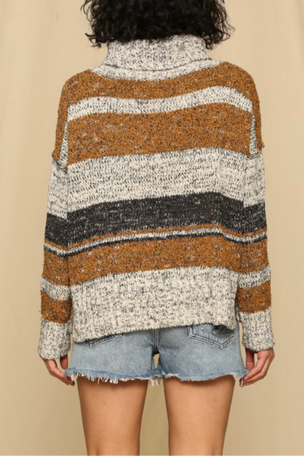 By Together  Striped turtleneck sweater - Side Cropped Image