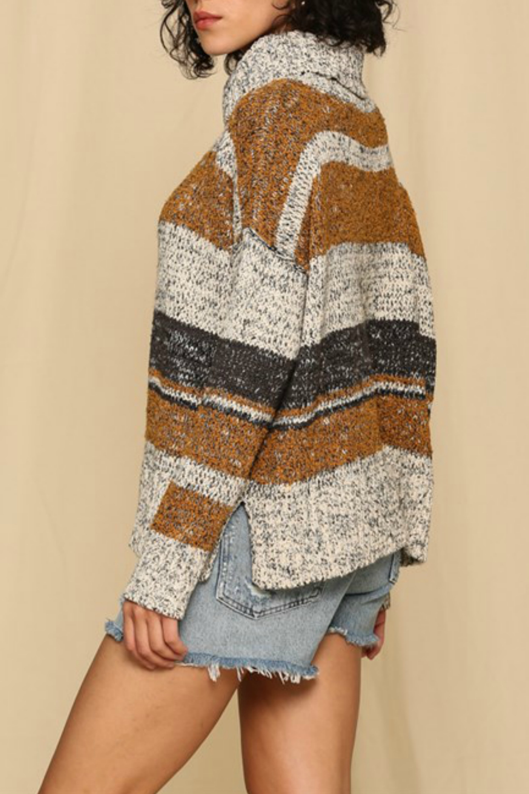By Together  Striped turtleneck sweater - Front Full Image