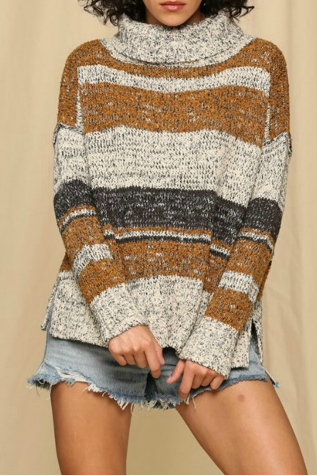 By Together  Striped turtleneck sweater - Main Image