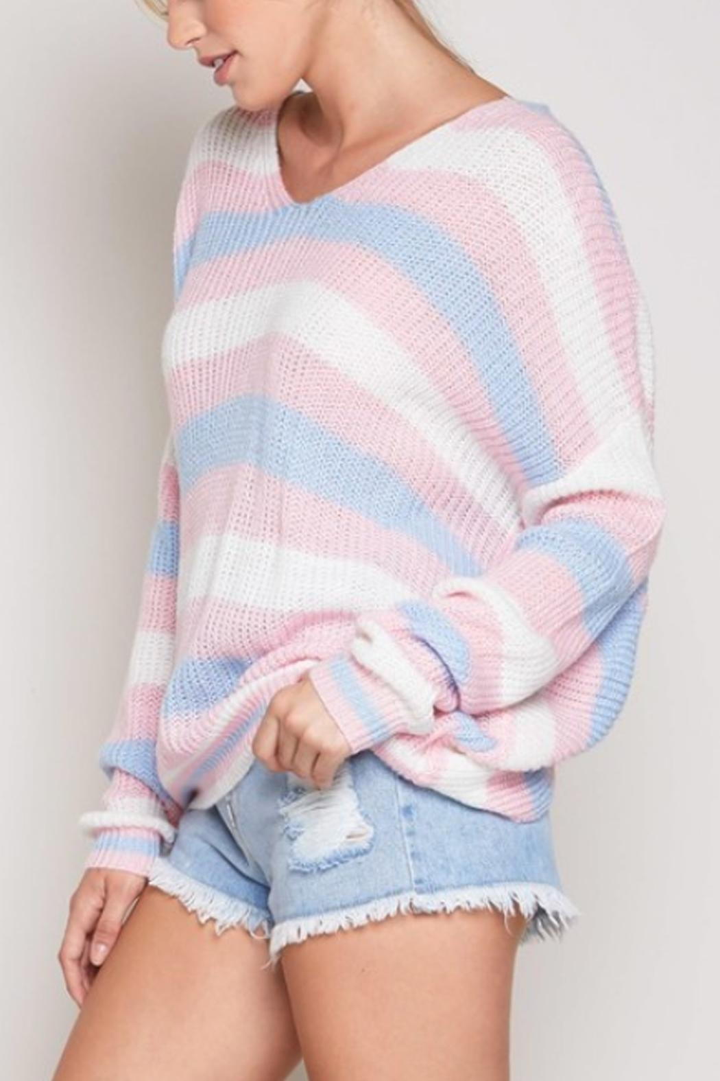 blue blush Striped Twist-Back Sweater - Side Cropped Image