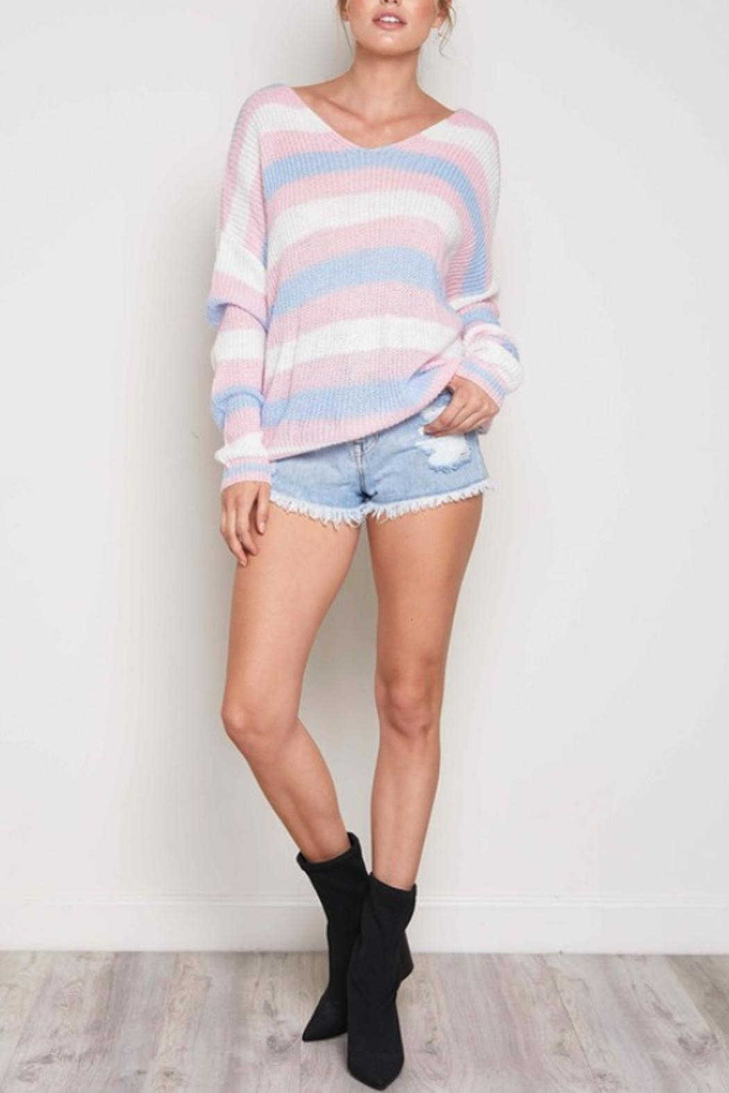 blue blush Striped Twist-Back Sweater - Back Cropped Image