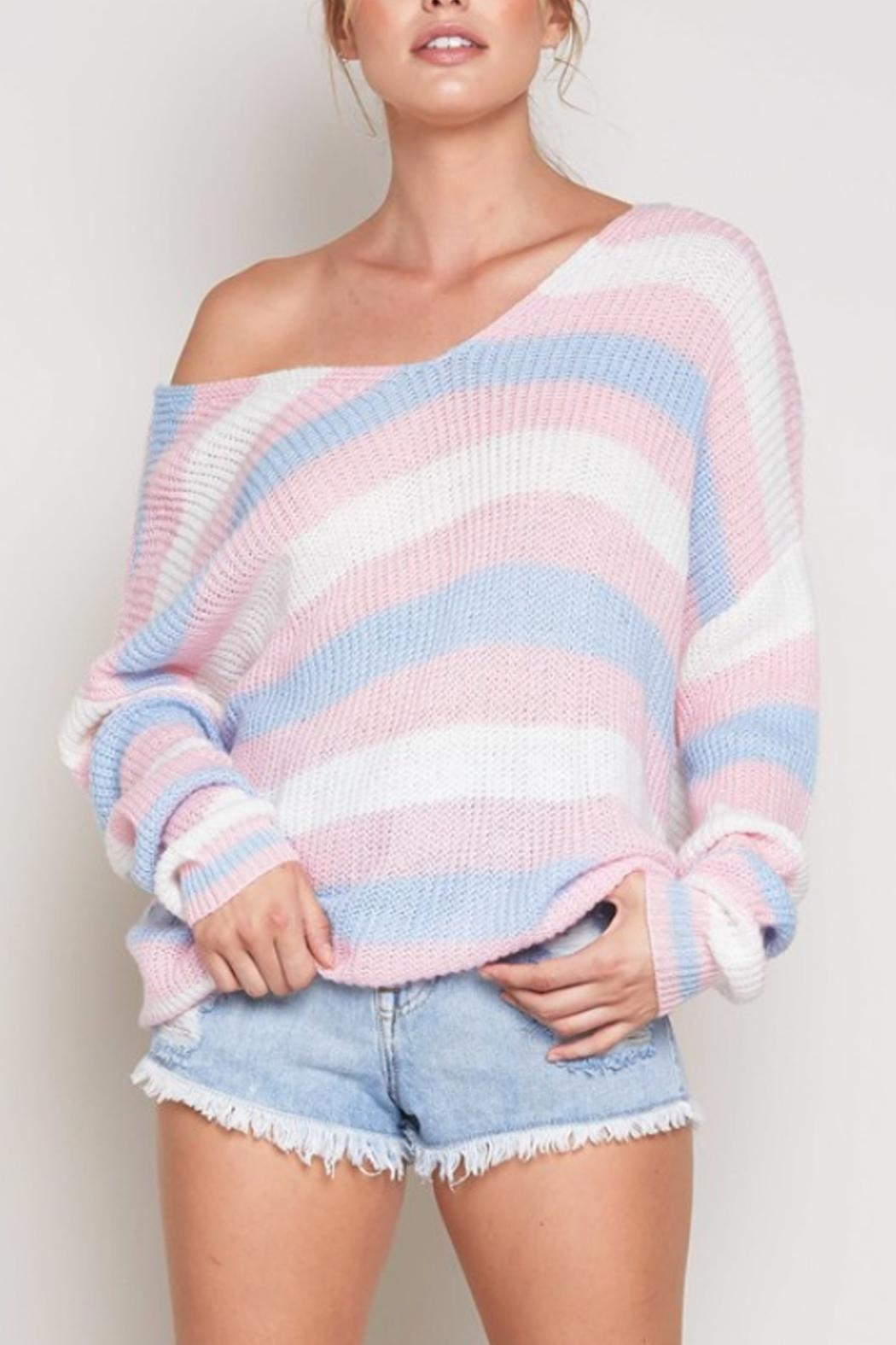 blue blush Striped Twist-Back Sweater - Main Image